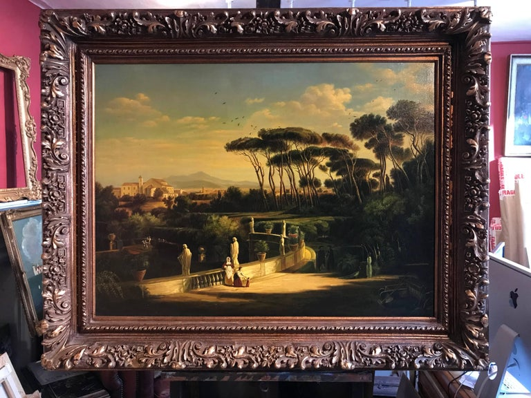 Classical Figures Ancient Italianate Landscape, huge oil painting and frame - Old Masters Painting by Continental School