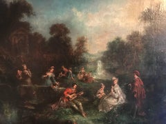 Huge 18th Century French Oil Painting - Fete Champetre Classical Figures