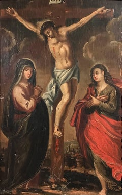 17th Century Oil on Panel - The Crucifixion
