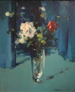 Still Life Flowers in Vase Impressionist Oil Painting, signed