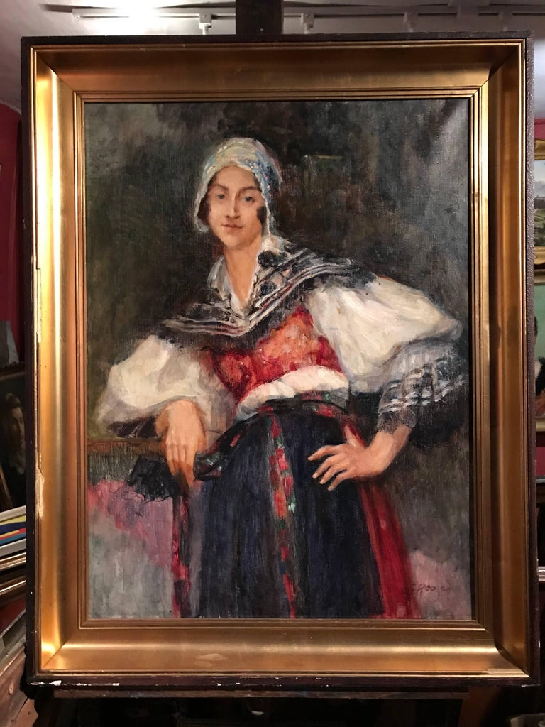 Portrait of a Lady, Large Signed Oil Painting on Canvas 4