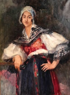 Portrait of a Lady, Large Signed Oil Painting on Canvas