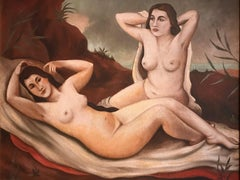 German School - Reclining Nudes in Landscape, signed oil painting