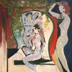 Nudes in Arcadian Garden, signed oil painting