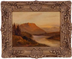 Sunset over the Highlands, antique Scottish painting