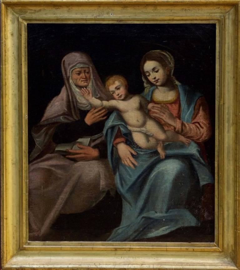 Unknown Figurative Painting - The Madonna & Child with St. Anna, oil painting on canvas