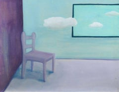 The Chair by the Window, Superb Large Surrealist oil painting on canvas