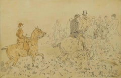 The Hunting Party, Fine Victorian Watercolour drawing