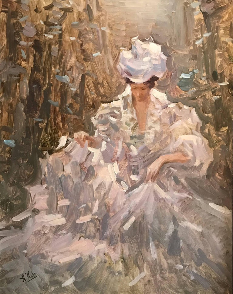 Portrait of a Lady seated in Garden - Signed Oil Painting