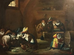 Monkeys Playing Cards Tavern Interior, Very Large Oil Painting