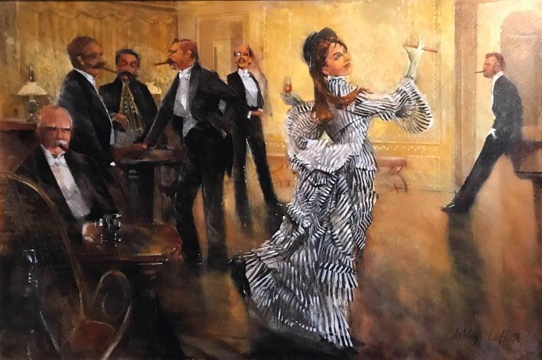 Port & Cigars. Belle Epoque Grand Salon Interior, signed oil painting