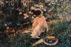 Dappled Light Girl Reading in Flower Garden, Huge Impressionist Oil Painting