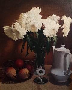 British Still life Flowers and Fruit Signed Oil