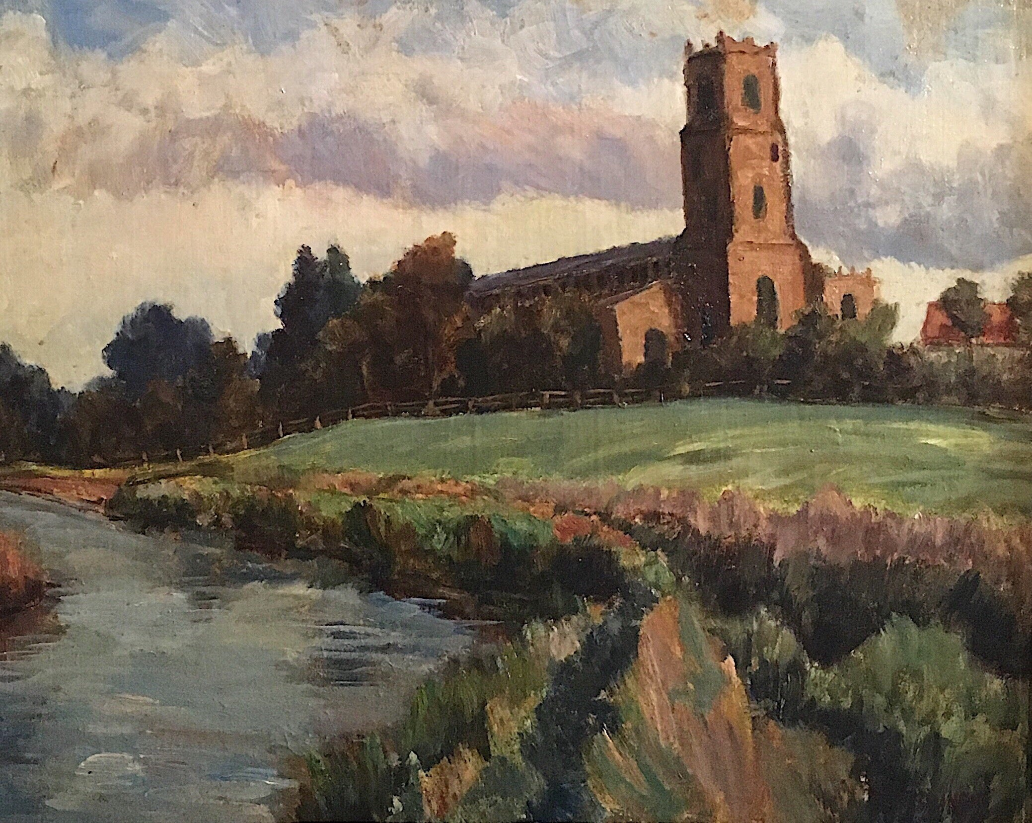 Mid 20th Century British Impressionist View of a Church - Oil Painting
