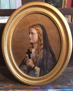 Young Girl in Prayer, Oval 19th Century Oil Painting.