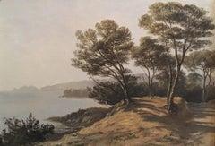 Mediterranean Coastline View 1930's French Impressionist Oil Painting