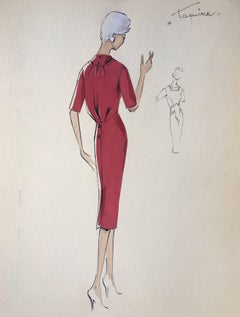 Lady in Elegant 1950's Red Dress Parisian Fashion Illustration Sketch