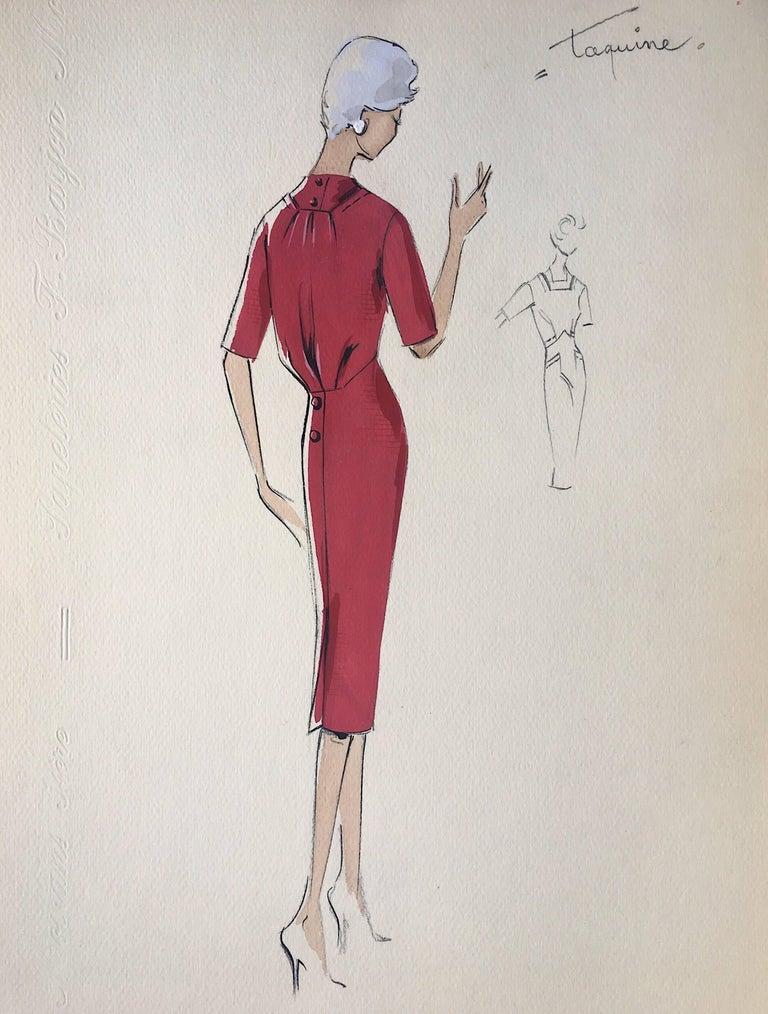 Lady in Elegant 1950's Red Dress Parisian Fashion Illustration Sketch