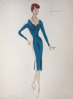 Lady in Elegant 1950's Blue Dress Parisian Fashion Illustration Sketch