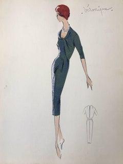 Lady in Elegant 1950's Green Check Dress Parisian Fashion Illustration Sketch