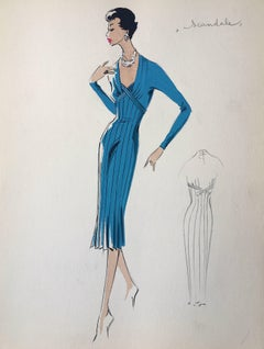 Lady in Elegant 1950's Bright Blue Dress Parisian Fashion Illustration Sketch