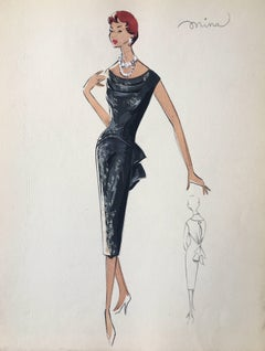 Lady with Two Tiered Necklace 1950's Parisian Fashion Illustration Sketch