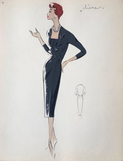 Lady in Elegant 1950's Black Dress Parisian Fashion Illustration Sketch