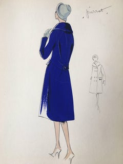 Lady in Elegant 1950's Winter Coat Parisian Fashion Illustration Sketch