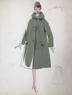 Lady in 1950's Green Coat and Hat Parisian Fashion Illustration Sketch
