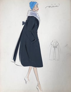 Lady in Elegant 1950's Coat with Fur Collar Parisian Fashion Illustration Sketch