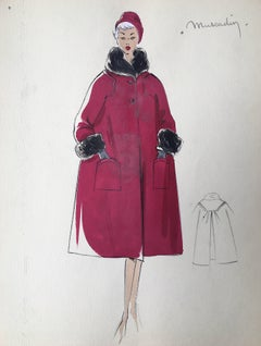 Lady in Elegant 1950's Red Coat Parisian Fashion Illustration Sketch