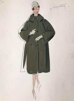 Lady in 1950's Dark Green Coat Parisian Fashion Illustration Sketch
