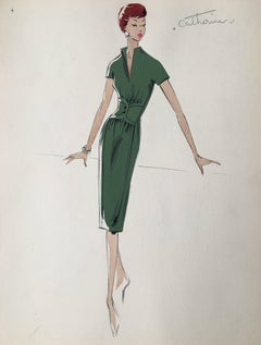 Lady in 1950's Green Dress Parisian Fashion Illustration Sketch