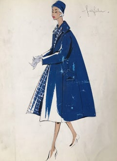Lady in 1950's Blue Coat and Hat Coat Parisian Fashion Illustration Sketch