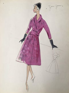 Lady in Pink 1950's Two Piece Parisian Fashion Illustration Sketch