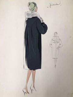 Lady in 1950's Coat with Fur Collar and Hat Parisian Fashion Illustration Sketch