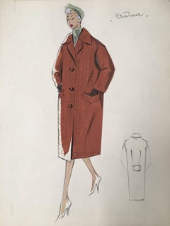 Lady in 1950's Brown Over Coat Parisian Fashion Illustration Sketch