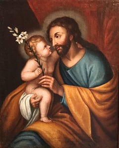 Joseph & Infant Christ Child, 17th century Old Master oil painting