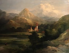 Huge 19th Century Mountainous Landscape Valley Oil Painting