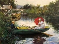 Punting on the River, large oil painting on canvas