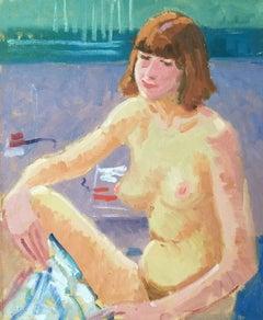 Casual Nude Portrait, British Impressionist Oil Painting