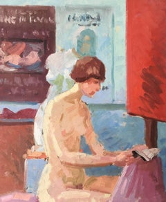 Studio Model Posing Whilst Reading, Nude Oil Painting