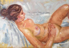 'Linda in Bed' Nude Oil Painting, Impressionist British Artist