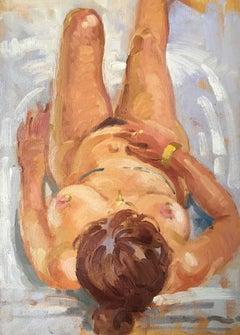 'Linda' Nude Oil Painting, Impressionist, British Artist