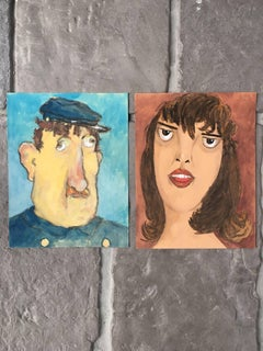 Pair of French Character Portraits, Blue and Brown Backgrounds