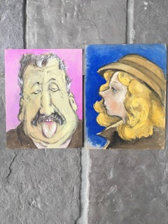Pair of French Character Portraits, Pink and Blue Backgrounds
