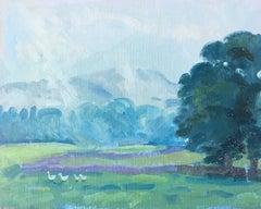 'Wandering Geese' Oil Painting, British Artist