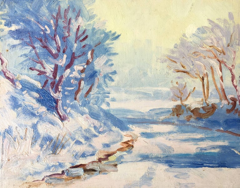 Snow Scene, Oil Painting, British Artist  By J.B.Holmes, British Artist, 20th Century Oil painting on board, unframed Board size: 8 x 10 inches  Magical snow scene, showing a snowy road, and over hanging trees. The use of colour is intriguing,