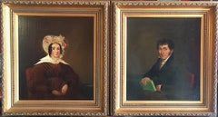The Victorian Couple - Pair of Victorian Portraits, English Oil Paintings