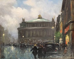 The Opera House, Paris. Mid 20th Century French Oil Painting